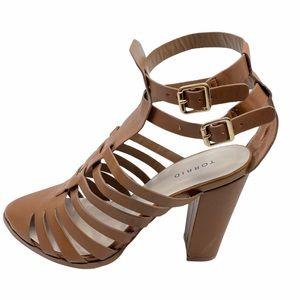 Torrid Brown Faux Leather Strappy Block Heel Sz 11